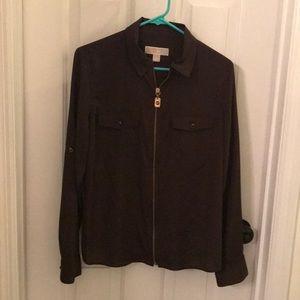 Brown MIchael Kors zip up blouse